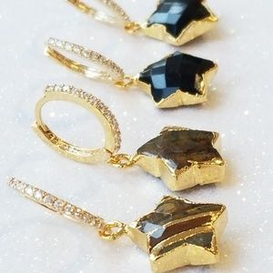Black onyx & Tiger eye star huggie hoops